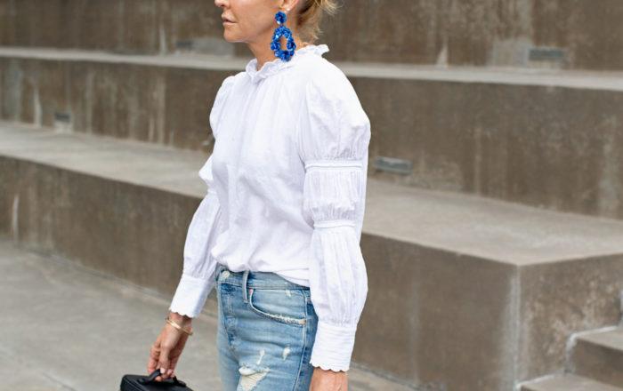 white blouse boyfriend jeans