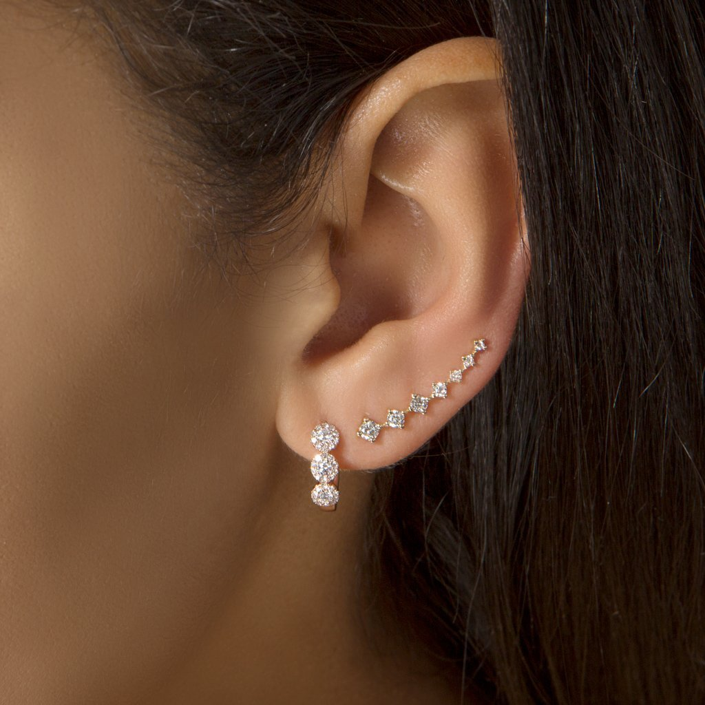 Anne Sisteron 14K rose gold diamond Mila huge earring