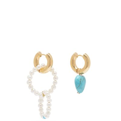 Timeless Pearly mismatched pearl and turquoise earrings
