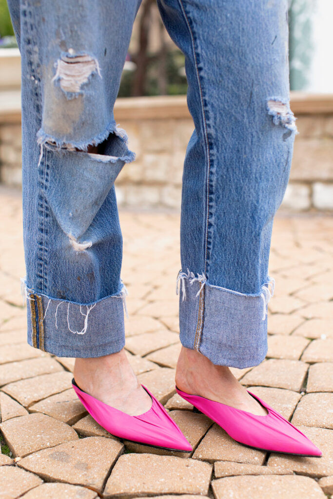 leg view of Vintage Levis 501 with pink Balenciaga knife mules