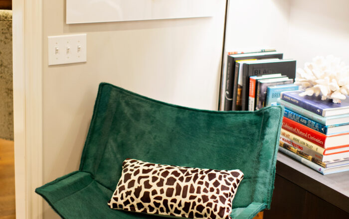 green cowhide sling chair with cheetah pillow in a library with modern art in background
