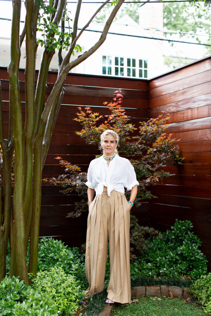 wide legged pants and cropped cotton blouse