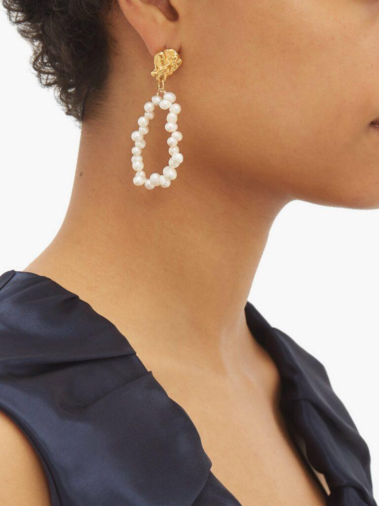 Alighieri Apollos Story 24k gold plated pearl earrings