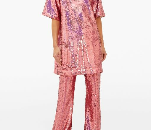 Raey pink long line sequined top with matching pink wide leg sequined bottoms