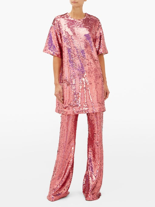 Raey long line pink sequined top and matching pink sequined wide leg pants